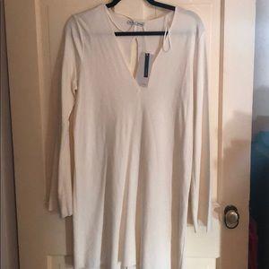Zara White Long Bell Sleeve Sheath Dress